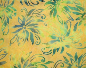 2 yards of Princess Mirah FLOWER BATIK with Big and Bold Flowers ~ Blue & Yellow