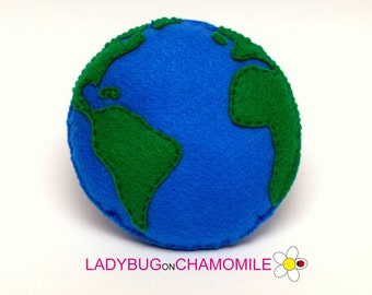 Felt EARTH, stuffed felt Earth magnet or ornament,Earth toy, Space, Universe, Nursery decor,Earth magnet, Earth ,Earth ornament, Planet