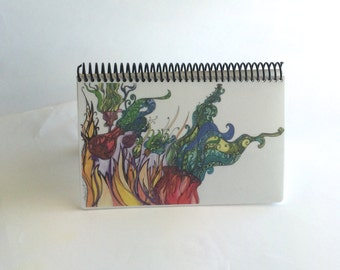 Artists Sketchbook filled with Heavy Strathmore paper spiral bound with Original Bohemian Flower Art on cover