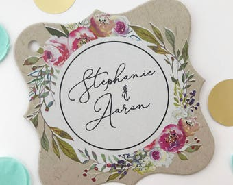 Penelope - Personalized Kraft Wedding/Engagement/Celebration/Event Hang Tags (FS-379-005-KR-WT-B)