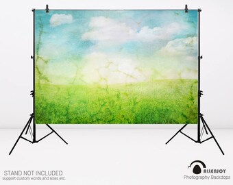 Fairytale Backdrop Spring Backdrop Watercolor Grass Sky Photography Background Banner Newborn Baby Portrait Fabric Photo Studio,AEC-00367