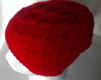 Women's Hand Knitted, Lattice Pattern, Beanie Hat
