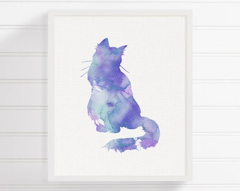Purple Cat, Cat Wall Decor, Watercolor Cat, Cat Art Print, Cat Wall Art, Cat Poster, Cat Silhouette Print, Kids Room Decor, Cat Lover Gift