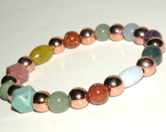 Inflammation Gemstone Healing Bracelet stretch *FREE SHIPPING USA* 464