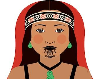 Maori New Zealand Wall Art Print with culturally traditional dress drawn in a Russian matryoshka nesting doll shape