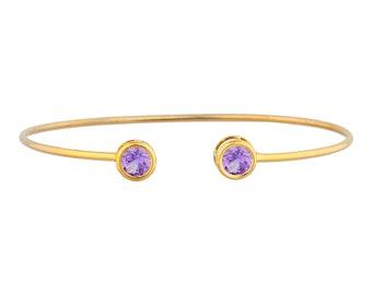 14Kt Yellow Gold Plated Alexandrite Round Bezel Bangle Bracelet