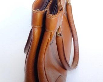 Vintage Brown Leather Handbag Purse Daybag Ganson 70's