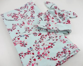 Cherry Blossoms Baby Swaddling Set - Swaddling Blanket, Knot Hat - Made to Order