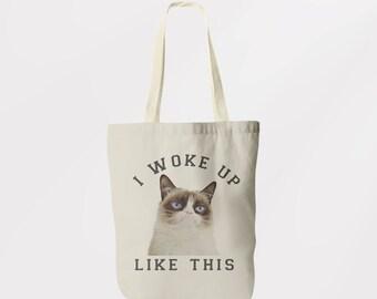 Vintage Style Grumpy Cat Printed Tote / Shoulder Bag