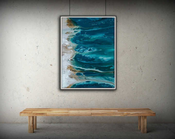 Abstract Art Blue Wall Art Coastal Landscape Giclee Large PRINT on Canvas Large Gift for Friend Modern Home Decor Wall Art Painting