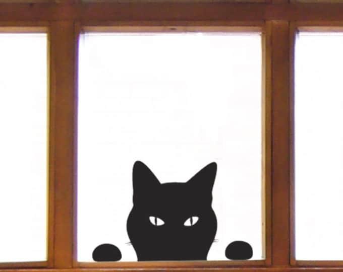 Cat Window Sticker - Cat Wall Sticker, Peeping Tom decal