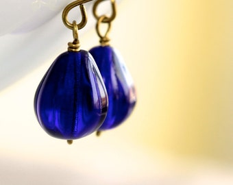 Dark Blue Earrings - 'Royal Offering'