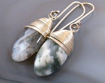 Moss Agate Briolette Earrings - sterling silver, wire wrapped, green, clear, gray, natural, undyed, small, lightweight