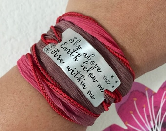 Sky Above Me Earth Below Me Fire Within Me~Hand Stamped Ribbon Wrap Bracelet