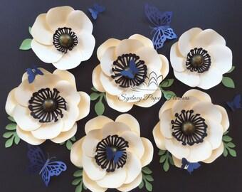 Paper flower ANEMONE backdrop/Paper flower wall/Nursery decor/Wedding Backdrop/Bridal Baby shower/Sweet table/Christening /Dessert table