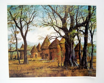 Vintage 1970's Jack Laycox An African Village Print