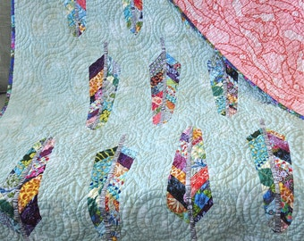 Custom Handmade Feather Quilt Colorful Boho Style Decor Pieced Patchwork Feathers Bed Sofa Couch Lap Quilt Modern Lifestyle Quilt Hip Trendy