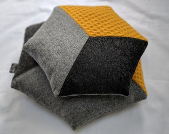 Hand made Hexagon wool, feather cushion, geometric pillow. Yellow and Grey