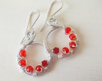 Circle dangle earrings, drop hoop earrings, red hoop earrings, hoop earrings with beads, mini hoop earrings, wire hoop earrings, gift her
