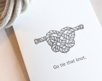 Wedding card, Engagement card, Go tie that knot, nautical, rope heart, tropical island wedding, congratulations on engagement or wedding