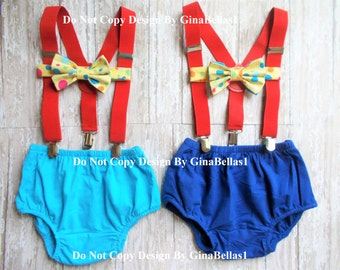 Circus Birthday cake smash outfit carnival baby shower bow tie suspenders Royal or light blue diaper cover Optional Hat 9 12 18 24 toddler
