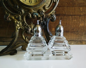 Vintage Individual Glass Glass Shakers on Tray