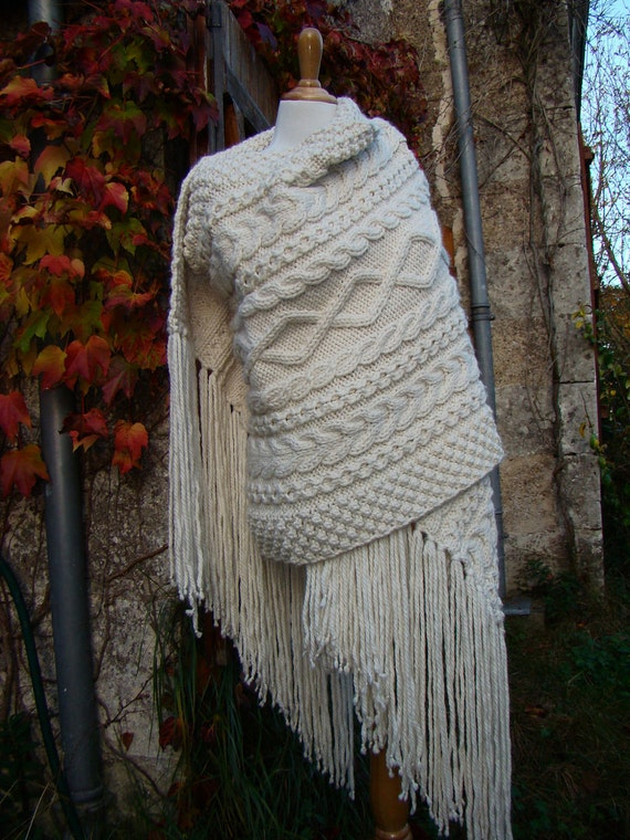 Celtic stole - celtic wrap - handknit cable texture - chunky stole - irish cable shawl -  luxury yarn stole - fall wedding stole - off white