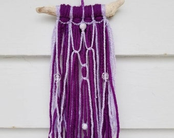 Driftwood Wall Hanging Purple with Crystals/ Purple Wall Decore/ Summer Wall Hanging/ Wall Decore/ Home Decor/ Bedroom Decor