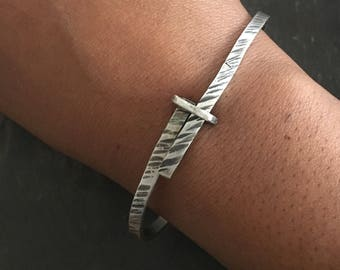 Silver Bangle, Sterling Silver, Small Bangle, Cuff Bracelet, Silver Bracelet, Bangle Bracelet, OOAK, Adjustable Bracelet, Unique Jewelry