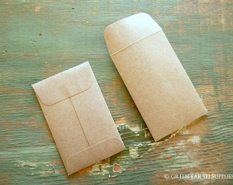 "100 Mini Seed Packet Envelopes, Kraft Brown, Business Card, Recycled gift card envelopes, wedding favor envelopes, 2 1/4"" x 3 1/2"" (57x89mm)"