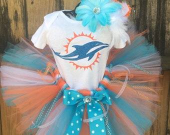 Ready to ship Cheerleader SPORTS inspired MIAMI DOLPHINs Tutu Set available any team Newborn, 3-6 m, 6-12 m 12-24 m 2T,3T up to Size 8