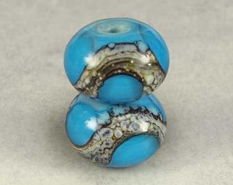 Blue Handmade Glass Lampwork Bead Pair, Glass Bead, Glass Lampwork, Lampwork Beads, 2 Glossy 11x7mm Aqua on Turquoise