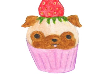 Pug Dog Lover Art Gift, Pug Gift For Her, Kids Room Dog Art, Pug Print, Funny Animal Art Print,Dog Lover Gifts For Girls,Wall Decor Under 30