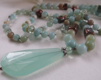 Amazonite//Chalcedony Long Beaded Necklace, Beachy Gemstone, Hand-Knotted Long Boho Layering Necklace ~ by Hello Sweetie Handmade