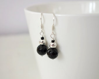 Small silver earrings black onyx earrings small stone earrings black stone minimalist earrings for women