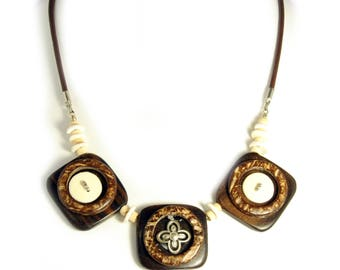 Ebony Wood & Ostrich EggShell Handmade Necklace