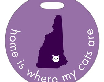 Personalized Luggage Tag / Carry On Bag Tag / Round FRP Plastic Tag / Custom State or Country/ Home Is Where My Cats Are / 2 Sizes Available