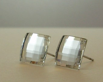 Swarovski Chessboard Crystal Stud Earrings