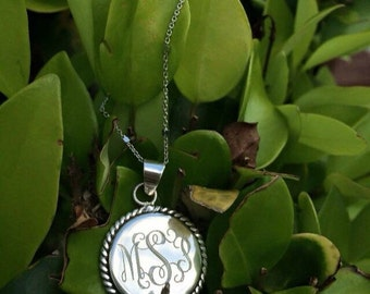 "925 Sterling Silver Nautical Rope Monogrammed Pendant in an 16-18"" Sterling Silver Chain  Bridesmaids gift"