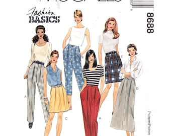 Pleated Pants Shorts & Skirt McCalls 8688 Cropped Trousers Pockets Womens Size 4 6 8 Sewing Pattern UNCUT