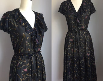 Vintage 1970's does 1940's Bird and Feather Print on Semi Sheer Black Ruffled Dress Size XS
