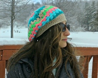 striped beanie| slouchy beanie| slouch hat| girls winter hat| ladies striped beret