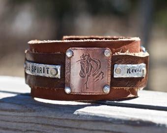 Personalized Leather Horse Bracelet - Bracelet Horse - Rodeo Girl Birthday Gift Ideas - Custom Western Bracelet for Horse Lover - Western