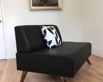 BOKZ Love Seat  black leather Mid Century Modern Style furniture