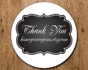 Customized Stickers - Chalkboard Style Ornate  - Labels - Wedding - Birthday Party - Thank You Stickers