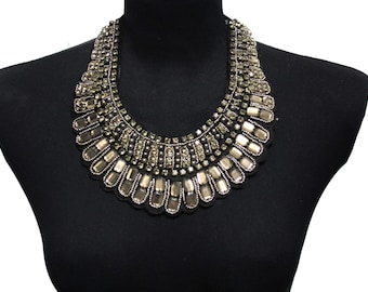 Round Beaded Fancy Collar with Lacing on the Back