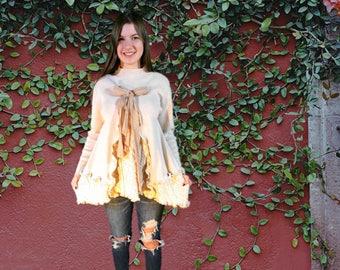 Romantic Shabby Chic Mori Girl Upcycled Sweater Tunic// Medium Large// Creamy Beige// emmevielle