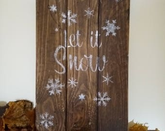 Let It Snow Rustic Reclaimed Wooden Christmas Decor