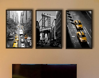 New York Photography, Black and white photography, NYC art, yellow cab, set of 3 prints, large wall art, empire state manhattan bridge