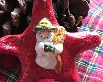 Salt dough snow lady